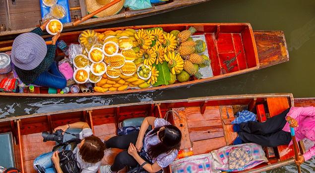 Drijvende markt Thailand